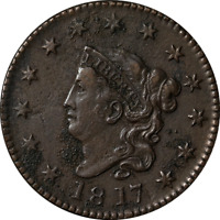 1817 LARGE CENT - N.9 13 STARS GREAT DEALS FROM THE EXECUTIVE COIN COMPANY