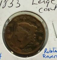 1833 CORONET LIBERTY HEAD US LARGE CENT 1C CIRCULATED 20 ROTATED ERROR VARIETY