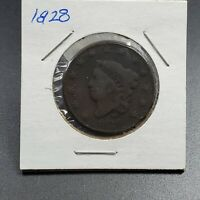 1828 CORONET LIBERTY HEAD US LARGE CENT 1C VF DETAILS CIRCULATED CONDITION