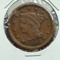 1850 BRAIDED CLASSIC LIBERTY HEAD US LARGE CENT 1C VG / FINE CIRCULATED