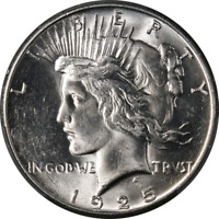 1925-P PEACE DOLLAR PCGS MINT STATE 63 BRIGHT WHITE GREAT EYE APPEAL  STRIKE STOCK