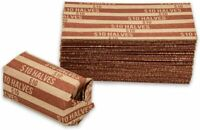 HALF DOLLAR COIN WRAPPERS, 100 FLAT STRIPED WRAPPERS BROWN
