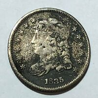 1835 CAPPED BUST SILVER U.S, HALF DIME. F-VF, ROUGH SURFACES. Q2