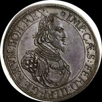 GERMAN STATES AUGSBURG 1642 THALER OLD SILVER WORLD COIN UNC    GORGEOUS