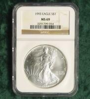 1993 NGC MINT STATE 69 AMERICAN SILVER EAGLE DOLLAR, 1 OZ .999 FINE SILVER $1 COIN
