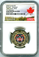 2020 $2 CANADA NGC GEM UNC COLOR TOONIE BILL REID BEAR TWO D