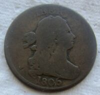 1806 DRAPED BUST HALF CENT SMOOTH PLANCHET CHOCOLATE BROWN BOLD DATE SHOWS