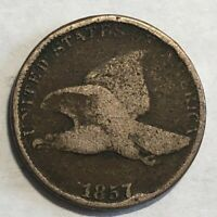 1857 VG COPPER-NICKEL FLYING EAGLE U.S. ONE CENT. NN27  SOME ROUGHNESS