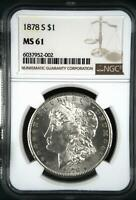 1878 S MORGAN SILVER DOLLAR NGC MINT STATE 61