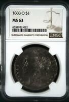 1888 O MORGAN SILVER DOLLAR NGC MINT STATE 63 TONED OBV