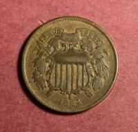 1864 TWO CENT PC. LARGE MOTTO VF WE VISIBLE COMPLETELY
