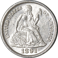1891-P SEATED LIBERTY DIME GREAT DEALS FROM THE EXECUTIVE COIN COMPANY