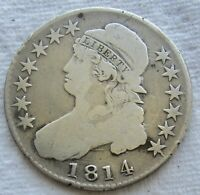 1814 CAPPED BUST HALF DOLLAR  DATE FINE DETAIL CLEANED