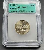 2005 P MINNESOTA STATE QUARTER COIN VINTAGE ICG MINT STATE 67