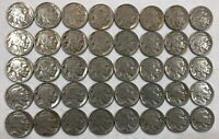 ROLL OF 40 FULL DATE INDIAN HEAD BUFFALO NICKELS. MIXED COMMON DATES 08