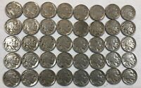 ROLL OF 40 FULL DATE INDIAN HEAD BUFFALO NICKELS. MIXED COMMON DATES 09
