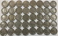 ROLL OF 40 FULL DATE INDIAN HEAD BUFFALO NICKELS. MIXED COMMON DATES 12
