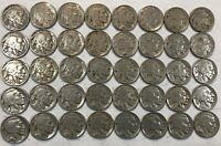 ROLL OF 40 FULL DATE INDIAN HEAD BUFFALO NICKELS. MIXED COMMON DATES 15