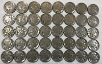 ROLL OF 40 FULL DATE INDIAN HEAD BUFFALO NICKELS. MIXED COMMON DATES 16