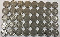 ROLL OF 40 FULL DATE INDIAN HEAD BUFFALO NICKELS. MIXED COMMON DATES 17