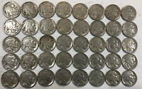 ROLL OF 40 FULL DATE INDIAN HEAD BUFFALO NICKELS. MIXED COMMON DATES 19