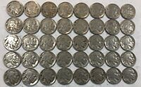 ROLL OF 40 FULL DATE INDIAN HEAD BUFFALO NICKELS. MIXED COMMON DATES 21