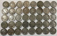 ROLL OF 40 FULL DATE INDIAN HEAD BUFFALO NICKELS. MIXED COMMON DATES 22