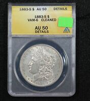 1883-S MORGAN DOLLAR ANACS AU-50 DETAILS VAM-6 CLEANED 0230