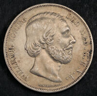 1872 NETHERLANDS WILLIAM III. LARGE SILVER 2 GULDEN COIN. VF XF