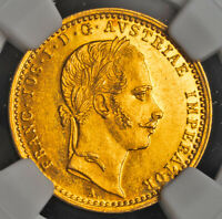 1861 AUSTRIA EMPEROR FRANCIS JOSEPH I. BEAUTIFUL GOLD DUCAT COIN. NGC MS 61