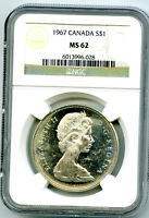 1967 $1 CANADA SILVER DOLLAR NGC MS62 FLYING GOOSE ON REVERS