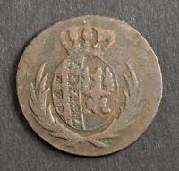 1812 POLAND  DUCHY OF WRSAW  FREDERICK AUGUSTUS III. COPPER 1 GROSZ COIN. VF