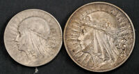 1933 POLAND  2ND REPUBLIC . SILVER 5 & 10 ZLOTYCH
