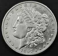 1897-S MORGAN SILVER DOLLAR.  FULL CHEST FEATHER'S.  A.U.   INV. A