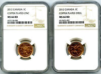 2012 CANADA CENT NGC MS66 RD STEEL AND ZINC TWO COIN SET LAS