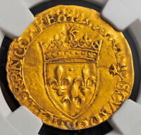 1547 ROYAL FRANCE FRANCIS I.GOLD ECU  WITH SUN  COIN. BAYONNE  NGC AU 53