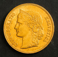 1890 SWITZERLAND  CONFEDERATION . GOLD 20 FRANCS  20 FRANKEN  COIN. 6.43GM
