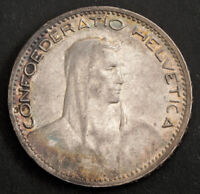 1923 SWITZERLAND  CONFEDERATION . SILVER 5 FRANCS  5 FRANKEN  COIN. XF AU