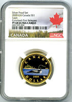 2020 $1 CANADA SILVER PROOF LOONIE DOLLAR NGC PF68 GILT COLO