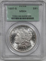 1897 S MORGAN SILVER DOLLAR $1 PCGS MINT STATE 64 MINT UNC - OGH OLD GREEN HOLDER 855