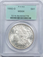 1892 O $1 MORGAN DOLLAR PCGS MINT STATE 64 UNCIRCULATED OGH OLD HOLDER TOUGH DATE CERT