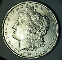 1900 MORGAN SILVER DOLLAR FULL CHEST FEATHERS BU 80870  INV. G