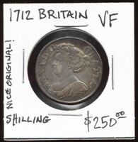 1712 BRITISH SHILLING  LOVELY ORIGINAL VF BEAUTY     SEE PIC