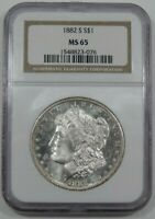 1882-S NGC MINT STATE 65 SILVER MORGAN DOLLAR GEM BLAST WHITE NEAR PROOF LIKE FROSTY