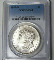 PCGS MINT STATE 64 1885-O MORGAN SILVER DOLLAR NEW ORLEANS MINT UNCIRCULATED
