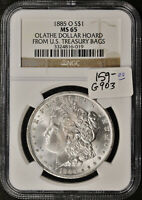 1885-O MORGAN SILVER DOLLAR. FROM OLATHE HOARD.  IN NGC HOLDER.  MINT STATE 65.  G903