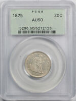 1875 20C TWENTY CENT PCGS AU 50 ABOUT UNCIRCULATED BETTER DATE OGH OLD HOLDER