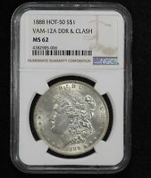 1888 MORGAN DOLLAR VAM-12A DOUBLE DIE REVERSE & CLASH NGC MINT STATE 62 024Y