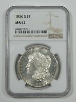 1886-S MORGAN DOLLAR CERTIFIED NGC MINT STATE 62 SILVER DOLLAR  SEMI PROOF-LIKE