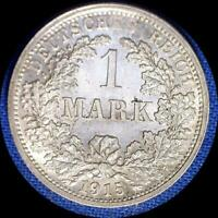 GERMANY 1915 F 1 MARK OLD SILVER WORLD COIN HIGH GRADE